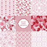 Μεγάλα άνευ ραφής ρόδινα σχέδια συνόλου Λουλούδια, καρδιές, πεταλούδες de Στοκ Φωτογραφία