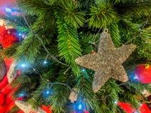 Μεγάλα αστέρια στο χριστουγεννιάτικο δέντρο στις ημέρες των Χριστουγέννων στοκ φωτογραφία με δικαίωμα ελεύθερης χρήσης