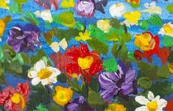 Μεγάλα αφηρημένα λουλούδια σύστασης Κλείστε επάνω το τεμάχιο της καλλιτεχνικής εικόνας λουλουδιών ελαιογραφίας Το μαχαίρι παλετών Στοκ Εικόνες