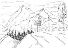 μεγάλα βουνά βουνών τοπίων Σκηνές και μια φωτιά Στοκ φωτογραφίες με δικαίωμα ελεύθερης χρήσης