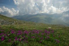 μεγάλα βουνά βουνών τοπίων Χάιλαντς, οι αιχμές βουνών, τα φαράγγια και οι κοιλάδες Οι πέτρες στις κλίσεις Στοκ Εικόνα