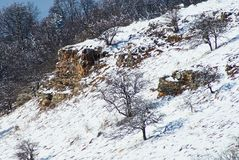 μεγάλα βουνά βουνών τοπίων Χιονισμένοι βράχοι στο μέσο σχέδιο, για το μπροστινό ξέφωτο, στον πίσω χειμώνα δασικό lago-Naki, το κύ στοκ φωτογραφία με δικαίωμα ελεύθερης χρήσης