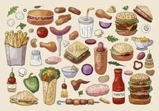 Μεγάλα διανυσματικά στοιχεία γρήγορου φαγητού στο ελαφρύ υπόβαθρο Συρμένη χέρι συλλογή τροφίμων οδών ελεύθερη απεικόνιση δικαιώματος