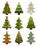 Μεγάλα καθορισμένα σύμβολα χριστουγεννιάτικων δέντρων με χωρίς ντεκόρ Στοκ φωτογραφίες με δικαίωμα ελεύθερης χρήσης