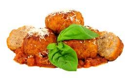 Μεγάλα κεφτή χοιρινού κρέατος με τη σάλτσα ντοματών στοκ εικόνες