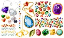 Μεγάλα κοσμήματα που τίθενται με τους πολύτιμους λίθους και τα δαχτυλίδια Στοκ Εικόνα