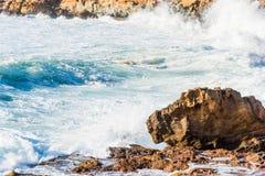 Μεγάλα κύματα στη δύσκολη ακτή Alghero Στοκ Φωτογραφία