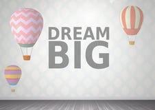 Μεγάλα μπαλόνια κειμένων και ζεστού αέρα ονείρου στο δωμάτιο ελεύθερη απεικόνιση δικαιώματος