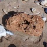Μεγάλα ριγωτά πέτρα βράχου & πλαίσιο υποβάθρου άμμου στην παραλία Στοκ φωτογραφία με δικαίωμα ελεύθερης χρήσης