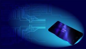 Μεγάλα στοιχεία και smartphone στο μπλε υπόβαθρο διανυσματική απεικόνιση