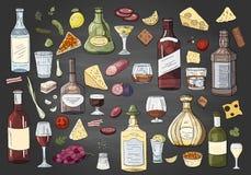 Μεγάλα συρμένα χέρι διαφορετικά μπουκάλια και ποτά οινοπνεύματος στο μαύρο υπόβαθρο Διανυσματική συλλογή ποτών alchol απεικόνιση αποθεμάτων