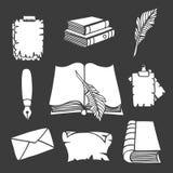 Μεγάλες καθορισμένες βιβλία και μάνδρα Διανυσματική απεικόνιση