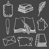Μεγάλες καθορισμένες βιβλία και μάνδρα Απεικόνιση αποθεμάτων