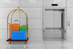 Μεγάλες πολύχρωμες βαλίτσες πολυανθράκων στο χρυσό ξενοδοχείο πολυτελείας διανυσματική απεικόνιση