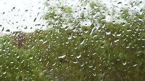 Μεγάλες πτώσεις της ροής βροχής κάτω από το παράθυρο απόθεμα βίντεο