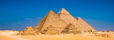 Μεγάλες πυραμίδες σε Giza, Αίγυπτος Στοκ εικόνα με δικαίωμα ελεύθερης χρήσης