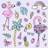 Μεγάλες χαριτωμένες θερινές αυτοκόλλητες ετικέττες που τίθενται με τα φλαμίγκο, φοίνικας, παγωτό, καρπούζι, γυαλιά ηλίου, ανανάς, διανυσματική απεικόνιση
