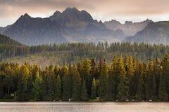 Μεγάλη άποψη σχετικά με τα υψηλά βουνά Tatra από το pleso Strbske Στοκ Φωτογραφίες