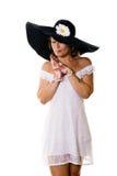 μεγάλη γυναίκα μαύρων καπέ&lam Στοκ Φωτογραφία