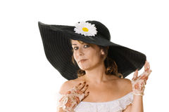 μεγάλη γυναίκα μαύρων καπέ&lam Στοκ φωτογραφίες με δικαίωμα ελεύθερης χρήσης