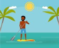 Μεγάλη ημέρα για να κωπηλατήσει Όμορφο άτομο που κάνει σερφ στο paddleboard και το χαμόγελό του Ενεργός έννοια ταξιδιού Επίπεδο ύ διανυσματική απεικόνιση