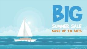Μεγάλη θερινή πώληση με το σκάφος στη ζωτικότητα θάλασσας ελεύθερη απεικόνιση δικαιώματος
