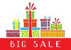Μεγάλη κάρτα πώλησης με τα κιβώτια δώρων σε ένα άσπρο υπόβαθρο Τυποποιημένο ζωηρόχρωμο δώρο boxeson ελεύθερη απεικόνιση δικαιώματος