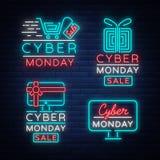 Μεγάλη καθορισμένη Δευτέρα Cyber, έννοια πώλησης έκπτωσης απεικόνισης στο ύφος νέου, on-line που ψωνίζει και έννοια μάρκετινγκ, δ Στοκ εικόνα με δικαίωμα ελεύθερης χρήσης