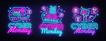 Μεγάλη καθορισμένη Δευτέρα Cyber, διανυσματική έννοια πώλησης έκπτωσης απεικόνισης στο ύφος νέου, on-line που ψωνίζει και έννοια  Διανυσματική απεικόνιση