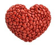 Μεγάλη καρδιά που γίνεται από τις μικρές κόκκινες καρδιές στοκ εικόνα