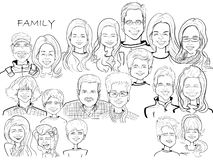 Μεγάλη καρικατούρα κινούμενων σχεδίων οικογενειακού εορτασμού διανυσματική απεικόνιση