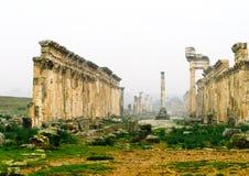 Μεγάλη κιονοστοιχία στη Απάμεια στην ομίχλη, που καταστρέφεται μερικώς από ISIS, Συρία στοκ εικόνες με δικαίωμα ελεύθερης χρήσης