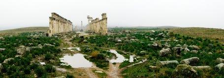 Μεγάλη κιονοστοιχία στη Απάμεια στην ομίχλη, που καταστρέφεται μερικώς από ISIS, Συρία στοκ φωτογραφία με δικαίωμα ελεύθερης χρήσης