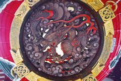 Μεγάλη κόκκινη λεπτομέρεια φαναριών Kaminarimon Στοκ φωτογραφία με δικαίωμα ελεύθερης χρήσης