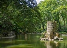 Μεγάλη λίμνη με τον πύργο στη μέση στοκ εικόνες με δικαίωμα ελεύθερης χρήσης
