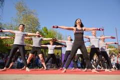 Μεγάλη ομάδα ανθρώπων με τον αθλητισμό μαθημάτων εκπαιδευτών Piloxing την ηλιόλουστη ημέρα άνοιξη στοκ φωτογραφία με δικαίωμα ελεύθερης χρήσης