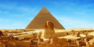μεγάλη πυραμίδα πανοράματος giza της Αιγύπτου Στοκ Εικόνα