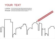 μεγάλη πόλη κτηρίων Γραμμικό επίπεδο σχέδιο οριζόντων πόλεων διανυσματική απεικόνιση
