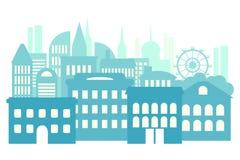 Μεγάλη πόλη, μητρόπολη, πολυκατοικίες Μπλε αφηρημένο υπόβαθρο ελεύθερη απεικόνιση δικαιώματος