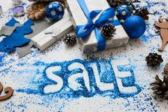 Μεγάλη πώληση στα Χριστούγεννα και τις νέες διακοπές έτους Στοκ Εικόνες