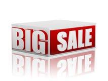 Μεγάλη πώληση στον κόκκινο άσπρο κύβο Στοκ εικόνα με δικαίωμα ελεύθερης χρήσης