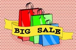 Μεγάλη πώληση συσκευασιών και λέξεων τσαντών αγορών στο ρόδινο υπόβαθρο σημείων απεικόνιση αποθεμάτων
