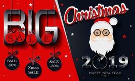 Μεγάλη πώληση Χριστουγέννων, υπόβαθρο καλής χρονιάς του 2019 και Άγιος Βασίλης στοκ φωτογραφία