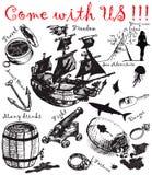 μεγάλη συλλογή 4 pirattes διανυσματική απεικόνιση