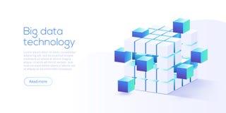 Μεγάλη τεχνολογία στοιχείων στη isometric διανυσματική απεικόνιση Informatio διανυσματική απεικόνιση