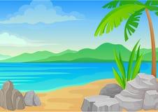 Μεγάλοι πέτρες και φοίνικας στην παραλία E ελεύθερη απεικόνιση δικαιώματος