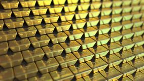 Μεγάλος ανεφοδιασμός των λεπτών χρυσών φραγμών ή των ράβδων Ρεαλιστική loopable ζωτικότητα ελεύθερη απεικόνιση δικαιώματος