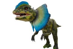 Μεγάλος δεινόσαυρος τυραννοσαύρων με ένα όμορφο μπλε χρώμα κοντά στο θόριο Στοκ Φωτογραφία