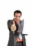 μεγάλος επιχειρηματίας που παρουσιάζει αντίχειρα χαμόγελου Στοκ Φωτογραφία