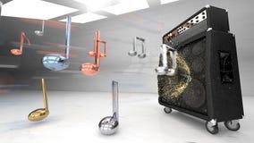Μεγάλος ηλεκτρικός ενισχυτής κιθάρων σε ένα άσπρο φωτισμένο στούντιο, μουσικές νότες μετάλλων απεικόνιση αποθεμάτων